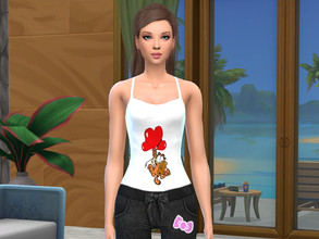 Sims 4 — Garfield and Pookie top by bgraham55 — lovely Garfield, night or day top for Garfield fans.