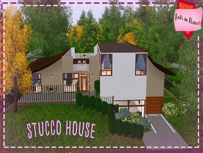 Sims 3 — Stucco House by Tails_in_Flames — 3 br, 3 ba. Split level modern Japanese styled house for your sims.