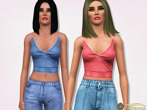 Sims 3 — Wrap Front Detail Crop Top by Harmonia — 3 color. recolorable Please do not use my textures. Please do not