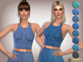 Sims 4 — Stretch-denim Soft-cup Bralet by Harmonia — 8 color Please do not use my textures. Please do not re-upload.