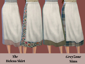 Sims 4 — Helena Apron Skirt - Patterns and Solids by greyzonesims — The Helena skirt comes in fifteen warm, cozy colors