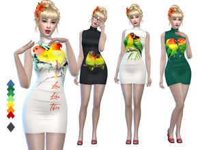 Sims 4 — Lovebird Dress - MESH REQUIRED by Naunakht — A dress for your bird-loving sims! Comes in 9 color variations,