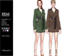 Sims 4 — REMI - Utility Belted Mini Dress by Helsoseira — Style : Utility four pockets belted mini dress Name : REMI Sub