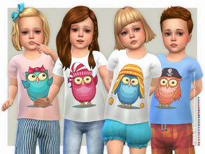 Sims 4 — Owl T-Shirt by lillka —  Owl T-Shirt for Toddler 20 swatches Base game compatible Custom thumbnail