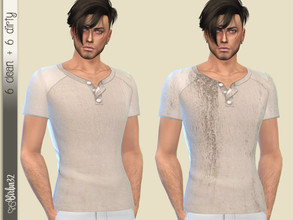 Sims 4 — Lino T-Shirt by Birba32 — Simple T-shirts in light linen with a clean and a dirty version. 6 colors + 6. Base