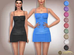 Sims 4 — Slinky Ruched Bust Fit Dress by Harmonia — 9 color Please do not use my textures. Please do not re-upload.