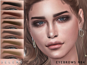 Sims 4 — Eyebrows N84 by Seleng — Female and Male 10 colours Custom Thumbnail The picture was taken with HQ mod Happy
