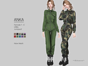Sims 4 — ANKA - Utility Jumpsuit by Helsoseira — Style : Full body, chest pocket industrial utility jumpsuit Name : ANKA