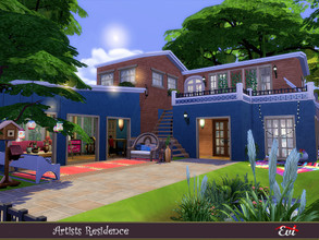 Sims 4 — The Artists residence by evi — A three bedroom house with bohemian , artistic style