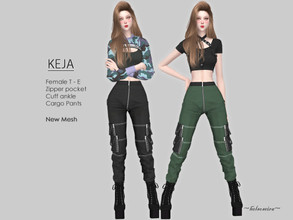 Sims 4 — KEJA - Cargo Pants by Helsoseira — Style : Industrial, zipper pocket cuff ankle cargo pants Name : KEJA Sub part