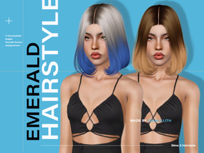 Sims 3 — LeahLillith Emerald Hairstyle by Leah_Lillith — Emerald Hairstyle All LODs Smoth bones Custom CAS thumbnail