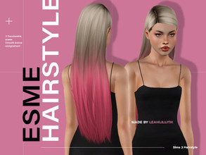 Sims 3 — LeahLillith Esme Hairstyle by Leah_Lillith — Esme Hairstyle All LODs Smooth bones Custom CAS thumbnail