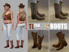 Sims 4 — Furry Western Boots (SV needed) by TitusLinde — Five different furry Western Boots for the Ladies and the