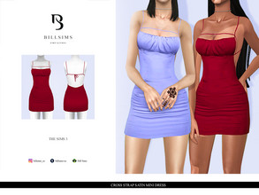 Sims 3 — Cross Strap Satin Mini Dress  by Bill_Sims — YA/AF Everyday/Formal Available for Maternity Recolorable - 1