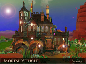Sims 4 — Mortal Vehicle by dasie22 — Mortal Vehicle is an awesome steampunk building inspired by MORTAL ENGINES. The lot