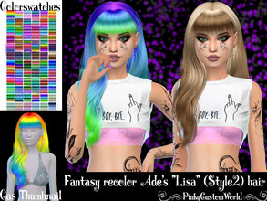 Sims 4 — Fantasy recolor of Ade's Lisa (Style2) hair by PinkyCustomWorld — - Recolor in 72 different colors - Custom