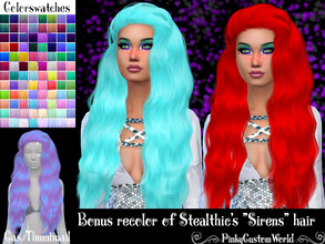 Sims 4 — Bonus recolor of Stealthic's Sirens hair by PinkyCustomWorld — - Recolor in 96 different colors - Custom
