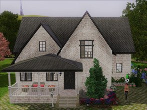 Sims 3 — Empty family house no cc by sgK452 — Upstairs 3 bedrooms and 1 bathroom. On the ground floor I put some walls,