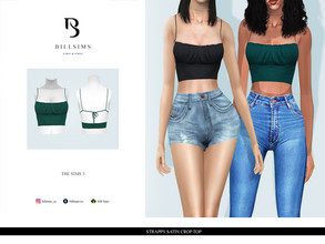 Sims 3 — Strappy Satin Crop Top by Bill_Sims — YA/AF Everyday/Formal Available for Maternity Recolorable - 1 Channel 2