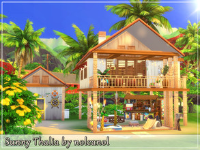 Sims 4 — Sunny Thalia by nolcanol — Sunny Thalia is a house in a coastal vibe. It is ideal as a summer house for the