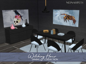 Sims 4 — Witching Hour Dining {Mesh Required} by neinahpets — A mystical Halloween dining room collection. Set Includes: