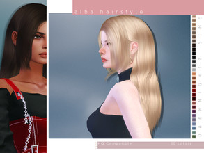 Sims 4 — Alba Hairstyle by DarkNighTt — Alba Hairstyle 30 colors New texture New mesh Compatible with hats Smooth bone