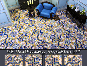 Sims 4 — MB-NeatHallway_RoyalBlue_SET by matomibotaki — MB-NeatHallway_RoyalBlue4, elegant vintage floor tile , 4