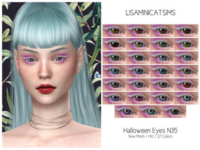 Sims 4 — LMCS Halloowen Eyes N35 (HQ) by Lisaminicatsims — -New Mesh -27 swatches -All Skin