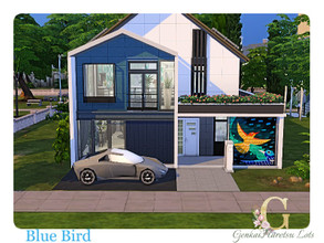 Sims 4 — Blue Bird by GenkaiHaretsu — Modern house for 1 or 2 sims with loft.