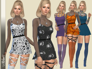 Sims 4 — Halloween 2020 Mini dress by Birba32 — A mini dress with a tansparent cub in Halloween theme. 12 Recolors with
