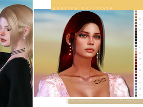 Sims 4 — Adeline Hairstyle by DarkNighTt — Adeline Hairstyle 30 colors New texture New mesh Compatible with hats Smooth