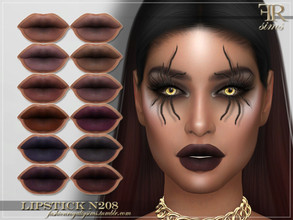 Sims 4 — FRS Lipstick N208 by FashionRoyaltySims — Standalone Custom thumbnail 12 color options HQ texture Compatible