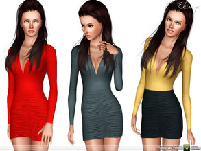 Sims 3 — Slinky Ruched Mini Dress by ekinege — This mini dress features a V-neckline, and ruched detailing. 2 recolorable