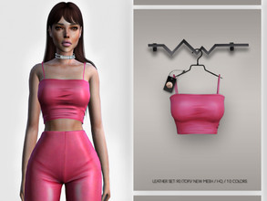 Sims 4 — Leather SET-90 (TOP) BD341 by busra-tr — 10 colors Adult-Elder-Teen-Young Adult For Female Custom thumbnail