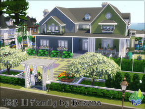 Sims 4 — TSB III Family by Bozena — A beautiful residence with a huge garden designed for the whole family. Everyone will