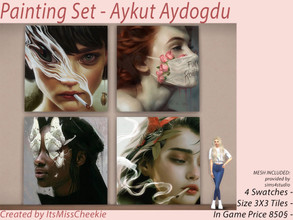 Sims 4 — Painting Set - Aykut Aydogdu Collection by itsmisscheekie — 4 Swatches Size 3X3 Tiles In Game Price 850