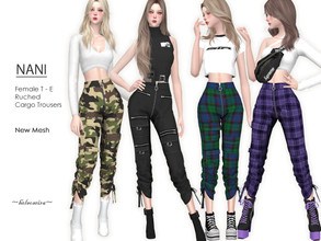 Sims 4 — NANI - Cargo Trousers by Helsoseira — Style : Industrial, plaid ruched cargo trousers Name : NANI Sub part Type