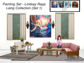 Sims 4 — Painting Set - Lindsay Rapp Liang Collection (Set 1) by itsmisscheekie — 4 Swatches Size 3X3 Tiles In Game Price