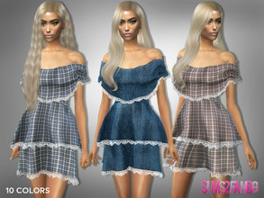 Sims 4 — 409 - Off Shoulder Layered Dress by sims2fanbg — .:409 - Off Shoulder Layered Dress:. Dress in 10 different