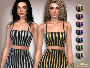 Sims 4 — Sequin Spaghetti Straps Crop Top by Harmonia — 7 color Please do not use my textures. Please do not re-upload.