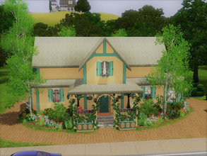 Sims 3 — Cottage no cc Riverview by sgK452 — house for 3 people, comfortable, music, tv, drawing, equipped kitchen,