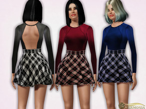 Sims 3 — Plaid Mini Skater Dress by Harmonia — 5 color. not-Recolorable Please do not use my textures. Please do not