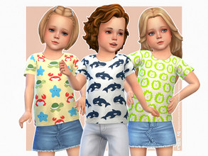 Sims 4 — Animal T-Shirt 02 by lillka — Animal T-Shirt for Toddler 3 swatches Base game compatible Custom thumbnail Hair