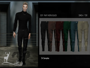 Sims 4 — DSF PANT HIDRA BLACK by DanSimsFantasy — Fitted trousers in a portion of synthetic leather material, it exhibits