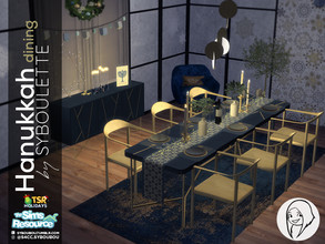 Sims 4 — Holiday Wonderland - Hanukkah Dining Set by Syboubou — Everything you'll need to decorate your your dining room