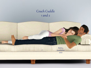 Sims 3 — Couple Couch Cuddle by jessesue2 — *4 poses for couples cuddling on couches *pose list compatible poses will