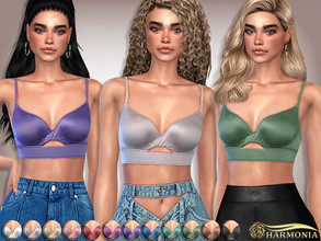 Sims 4 — Silk Keyhole Bralette by Harmonia — 12 color Please do not use my textures. Please do not re-upload. Please