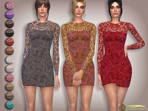 Sims 4 — Long-Sleeve Floral Lace Mesh by Harmonia — Mesh By Harmonia 15 color Please do not use my textures. Please do