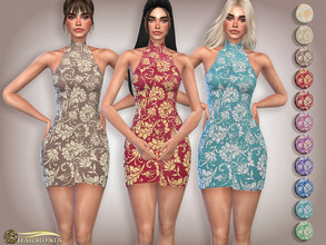 Sims 4 — Ornate Glittery Embroidery Halter Dress by Harmonia — Mesh By Harmonia 15 color Please do not use my textures.