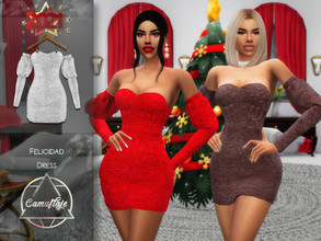 Sims 4 — Camuflaje - Felicidad (Dress) by Camuflaje — * New mesh * Compatible with the base game * HQ * All LODs (I